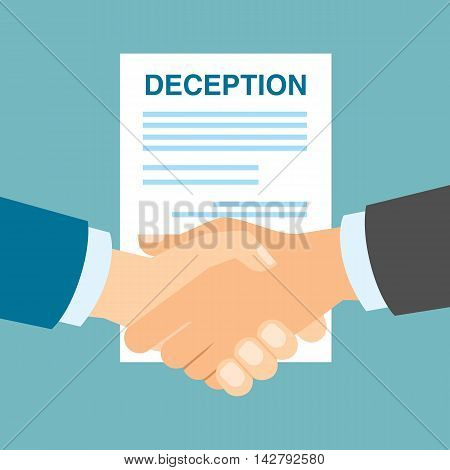 Business deception handshake. Manipulative deception in business partnership. Cheating in business cooperation.
