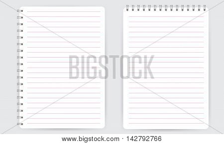 Blank realistic spiral notepad notebook with pink thin horizontal lines isolated on white vector. Display Mock up.