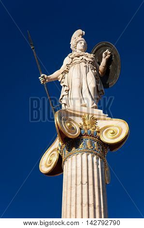 The statue of Athena. Athens Greece. In the citi down town.