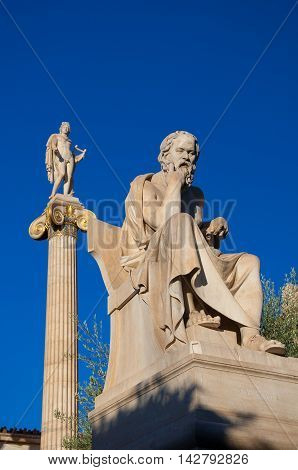 The statue of Socrates. Athens Greece. In the citi centr.