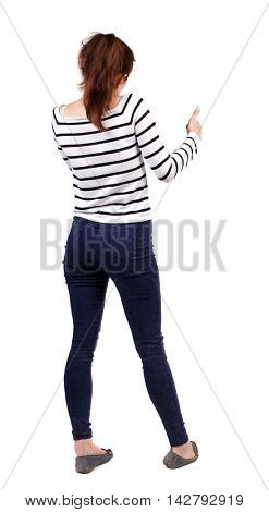 Back view of  woman thumbs up. Rear view people collection. backside view of person. Isolated over white background. Girl in a striped sweater showing thumb up.