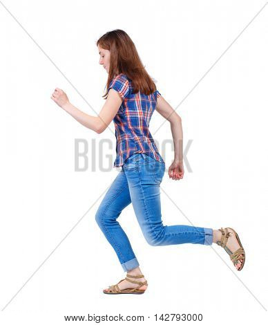 side view of running  woman. beautiful girl in motion. backside view of person.  Rear view people collection. Isolated over white background. Girl in plaid shirt runs off to the side.