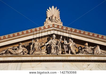 The Western pediment of the Academy of Athens.