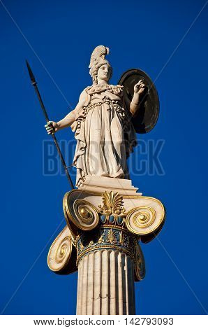 The statue of Athena. Athens Greece. In the citi centr.