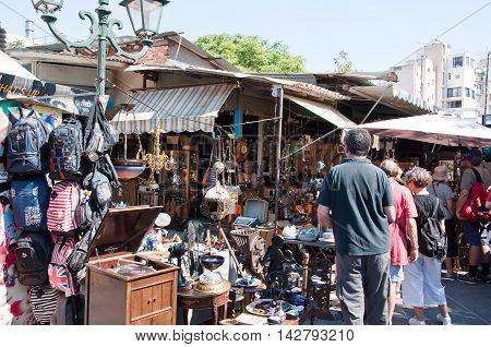The flea market in Monastiraki on August 4 2013 in Athens Greece.