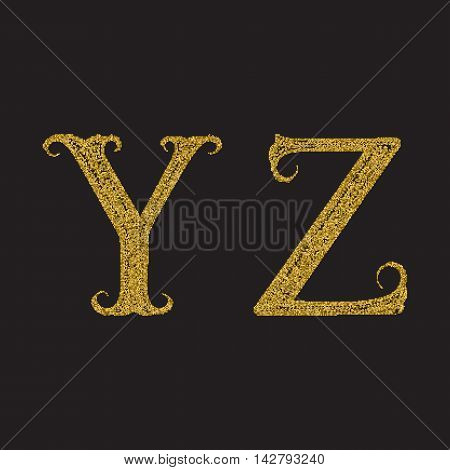 Y Z golden glittering letters. Vintage font with gold halftone effect.