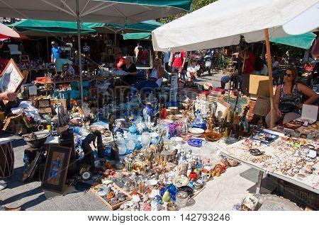 Athens Greece-August 04: Daily flea market in Monastiraki on August 4 2013. Athens Greece.