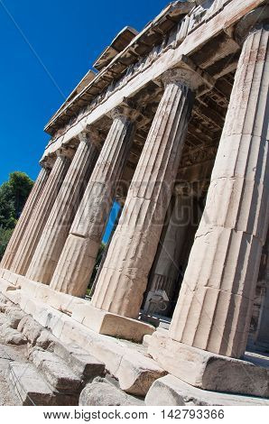 Temple of Hephaestus in ancient Agora. Athens Greece.