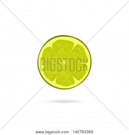 Lime slice vector icon isolated on white background, flat simple green lime piece illustration