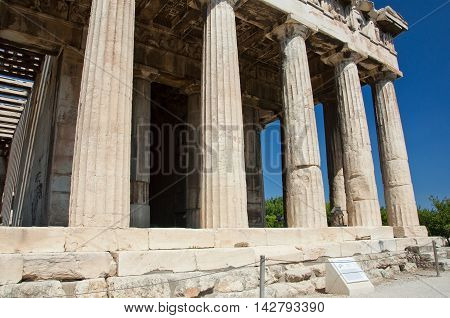 The Temple of Hephaestus in ancient Agora in Athens Greece.