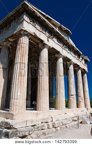 The Temple of Hephaestus at the north-west side of the Agora of Athens.Greece.