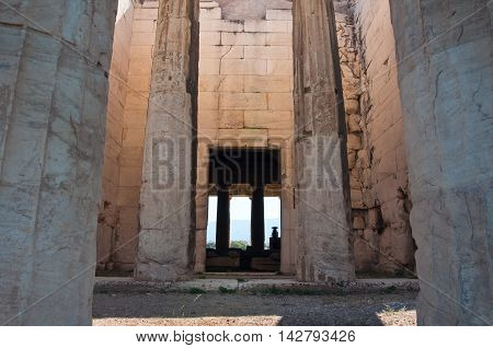 Interior of The Temple of Hephaestus in Agora. Athens Greece.