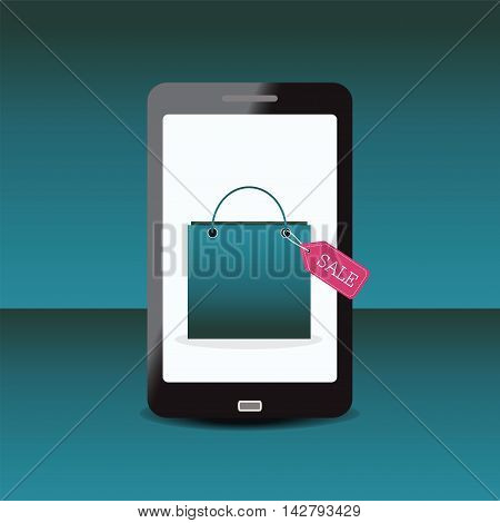 Shopping bag with sale Tag on smartphone conceptual shopping online vector illustration.