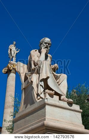 The statue of Socrates in Athens Greece.