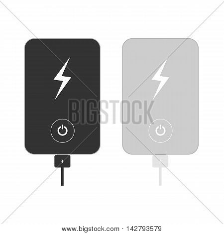Isolated power banks. Grey and black power banks. Tools for charging. White background.