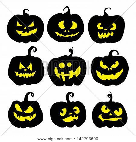 Halloween pumpkin set. Pumpkins with scary faces. Fall or autumn holiday and harvest celebration. Black pumpkins.