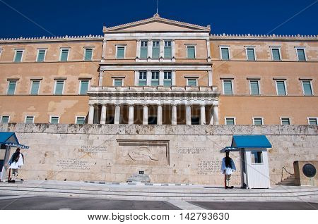 Syntagma Square and Evzones on August 4 2013 in Athens Greece.