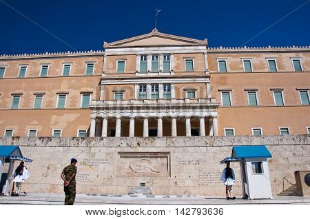 Syntagma Square and Greek Evzones on August 4 2013 in Athens Greece.