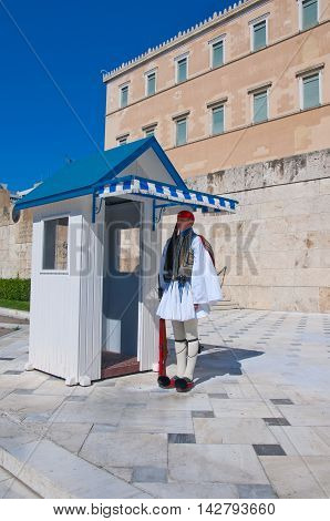 Evzone guards the Tomb of the Unknown Soldier on August 4 2013 in Athens Greece.