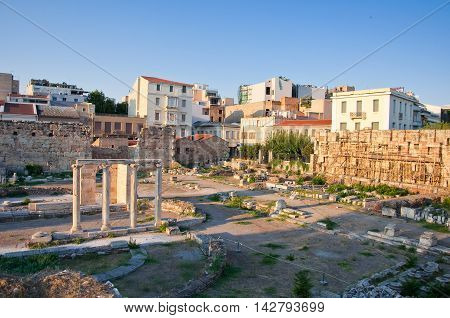 Roman Agora and the Tower of the Winds on August 4 2013 in Athens. Greece.