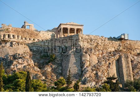 Athenian Acropolis seen from the Ancient Agora in Athens Greece