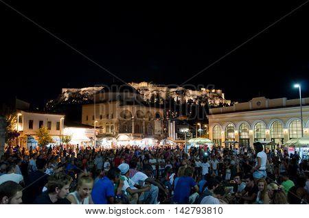 Monastiraki Square at the night on August 4 2013 in Athens Greece.