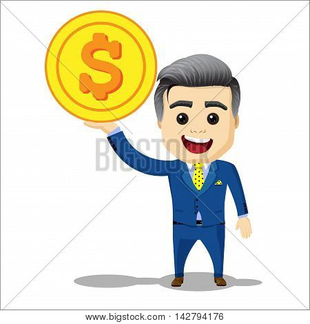 manager character with dollar coin. businessman or manager character and golden coin