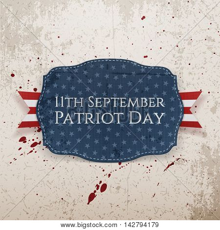 Patriot Day - 11th September Tag with Ribbon. Vector Illustration