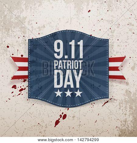 Eleventh September Patriot Day national Tag. Vector Illustration