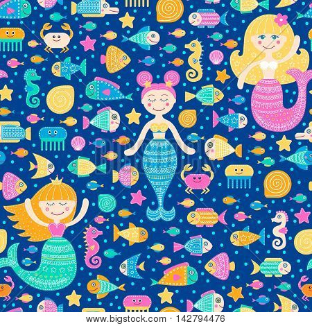 Vector seamless pattern with cartoon sea inhabitants. Flat mermaid girls fish crab seahorse seastar shell jellyfish and bubbles. Cute fantasy background for kids. Bright colors.