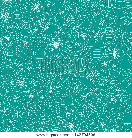 Christmas seamless pattern. Vector hand drawn outline winter elements. Fun doodle background for kids. Snowflake owl christmas tree mittens socks. On green background.