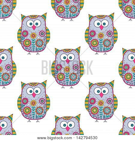 Seamless vector pattern with cartoon doodle owls. Cute birds with hand drawn floral ornament. Color owls on white background. Nice design for kids.