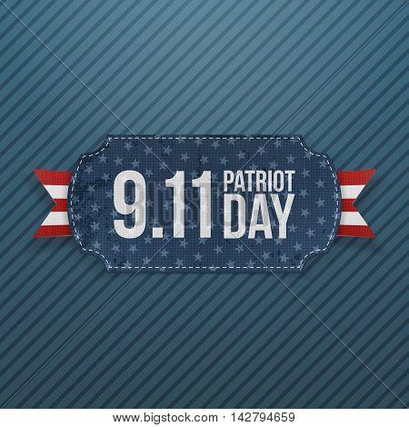 Patriot Day 9-11 realistic Emblem. Vector Illustration
