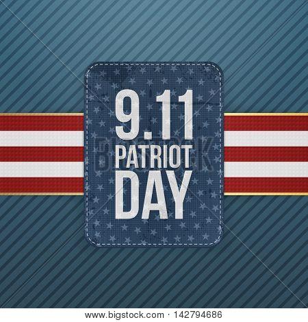 Patriot Day festive paper Emblem. Vector Illustration