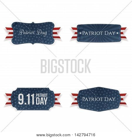 Patriot Day paper Badges Collection. Vector Illustration