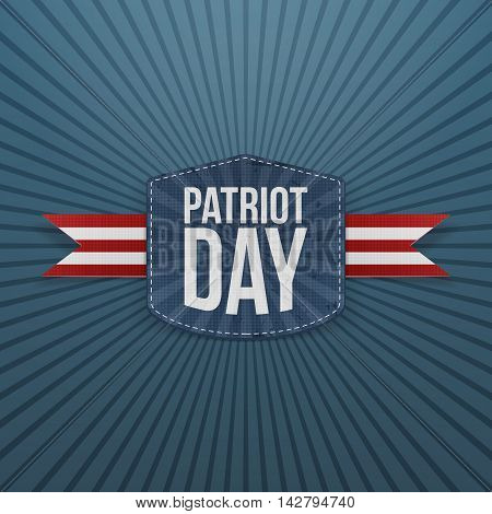 Patriot Day realistic Badge with Ribbon. Vector Illustration