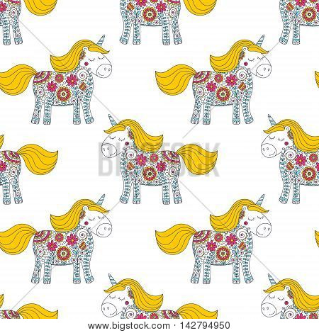 Cute doodle unicorn. Vector seamless pattern with hand drawn little pony. Nice unicorn with floral ornament and dots. Sweet doodle design for babies and kids.