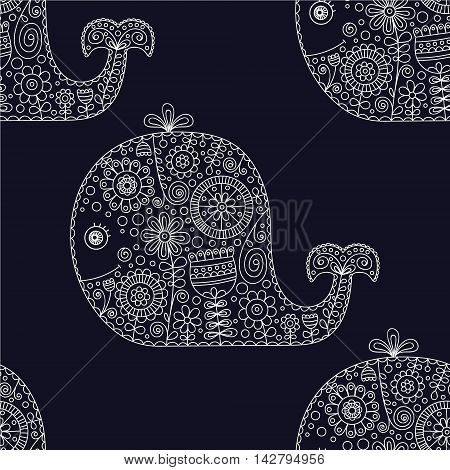 Cute doodle whale. Vector seamless pattern with hand drawn whale with doodle floral ornament and bubbles. Childish background with animals silhouette with flowers and dots. On black backdrop.