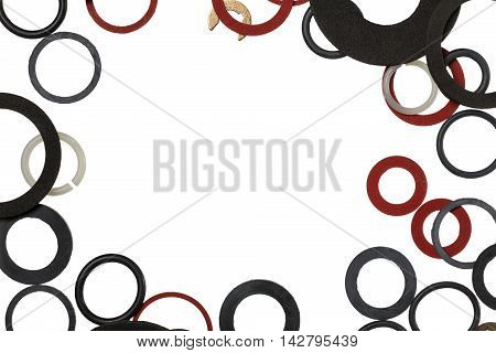 Background of the sealing rings and gaskets with copy space
