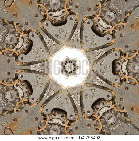 Old mechanism of the clock. Abstract kaleidoscope pattern