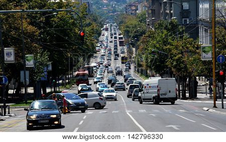 BELGRADE, SERBIA - AUGUST 15, 2016: Street view of downhill road Kneza Milosa in Belgrade