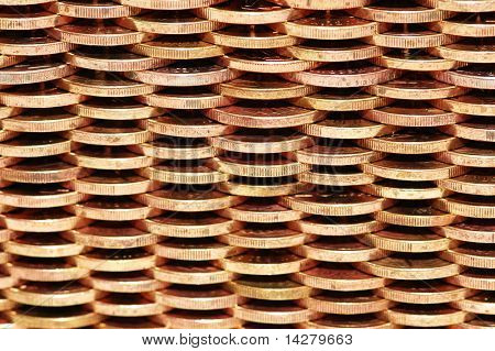 Pattern of wall made from golden  coins