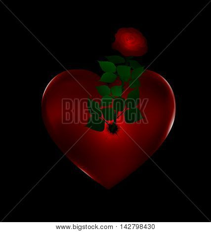 dark background and big stone red heart with rose inside
