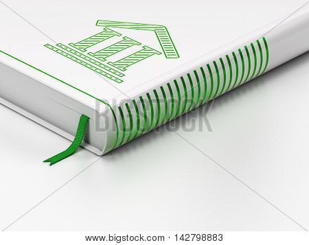 Law concept: closed book with Green Courthouse icon on floor, white background, 3D rendering