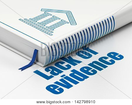 Law concept: closed book with Blue Courthouse icon and text Lack Of Evidence on floor, white background, 3D rendering