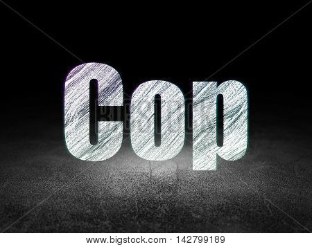 Law concept: Glowing text Cop in grunge dark room with Dirty Floor, black background