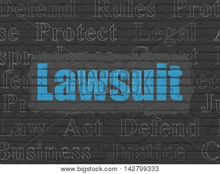 Law concept: Painted blue text Lawsuit on Black Brick wall background with  Tag Cloud