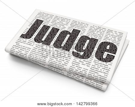Law concept: Pixelated black text Judge on Newspaper background, 3D rendering