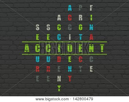 Insurance concept: Painted green word Accident in solving Crossword Puzzle
