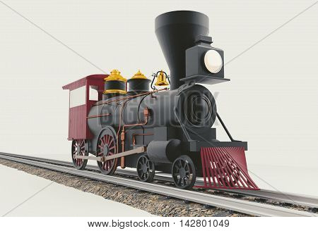 Old American 4-4-0 Steam Locomotive on white 3D render